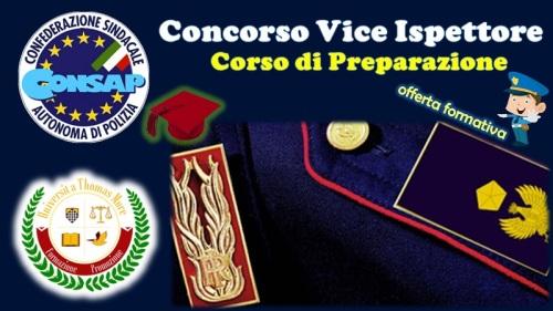 Concorso Interno per Vice Ispettore a 1142 posti : offerta formativa per il Corso di Preparazione in convenzione CONSAP e Università Popolare Thomas More