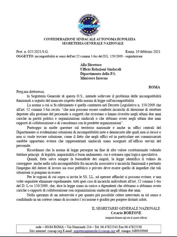Incompatibilità - Lettera CONSAP all'Ufficio Relazioni Sindacali Dipartimento della P.S.