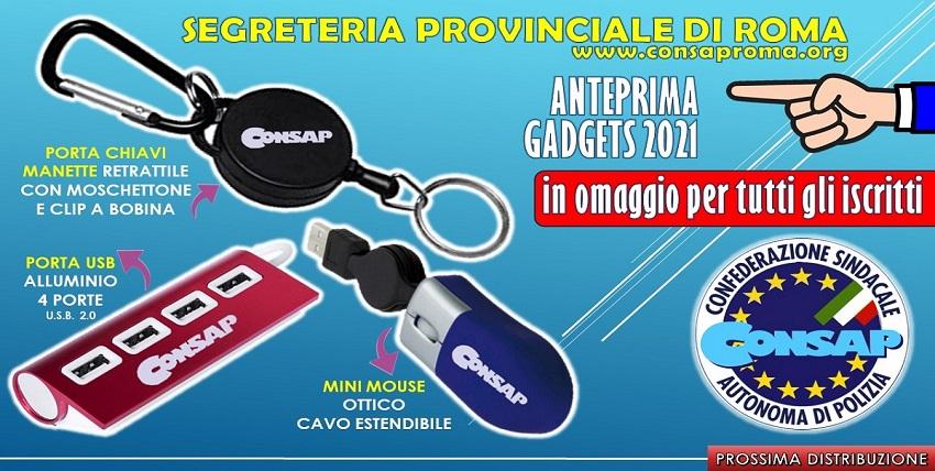 Annuncio Gadget CONSAP 2021 - Segreteria Provinciale di ROMA