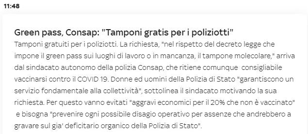 Tampone Gratuito per i Poliziotti - CONSAP Roma